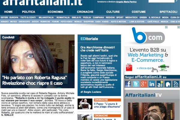 La home page di Affaritaliani.it