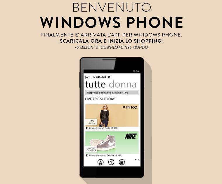 Privalia lancia l 39 app per windows phone for Contatti privalia