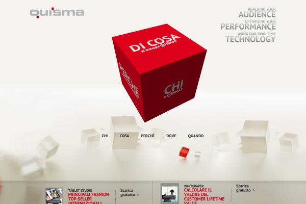 La home page del sito di Quisma