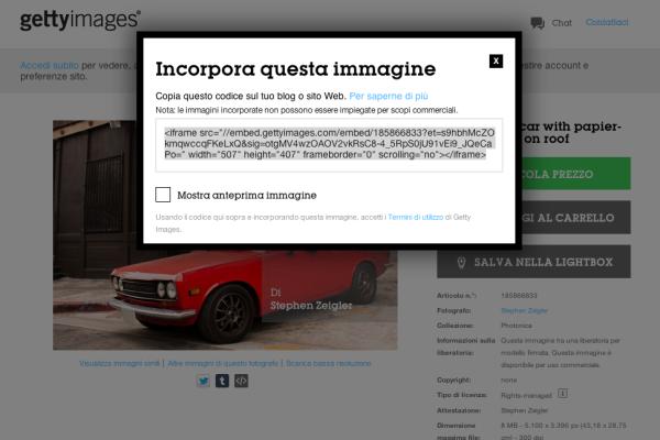 """La schermata che consente di """"incorporare"""" le immagini di Getty"""