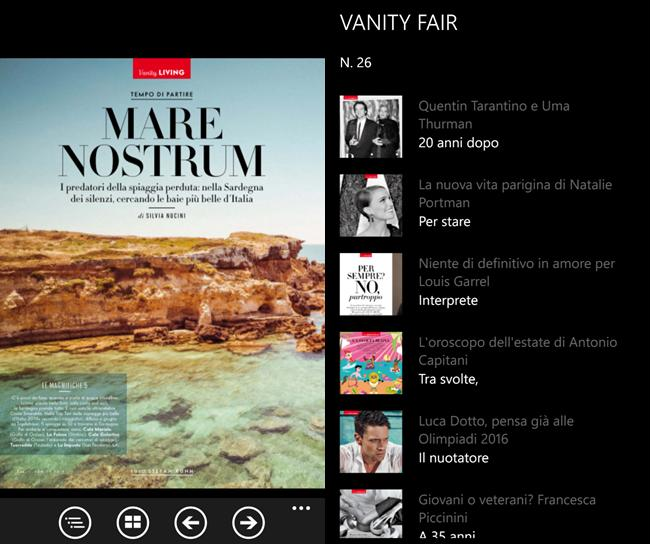 nuova app di vanity fair per i dispositivi della gamma