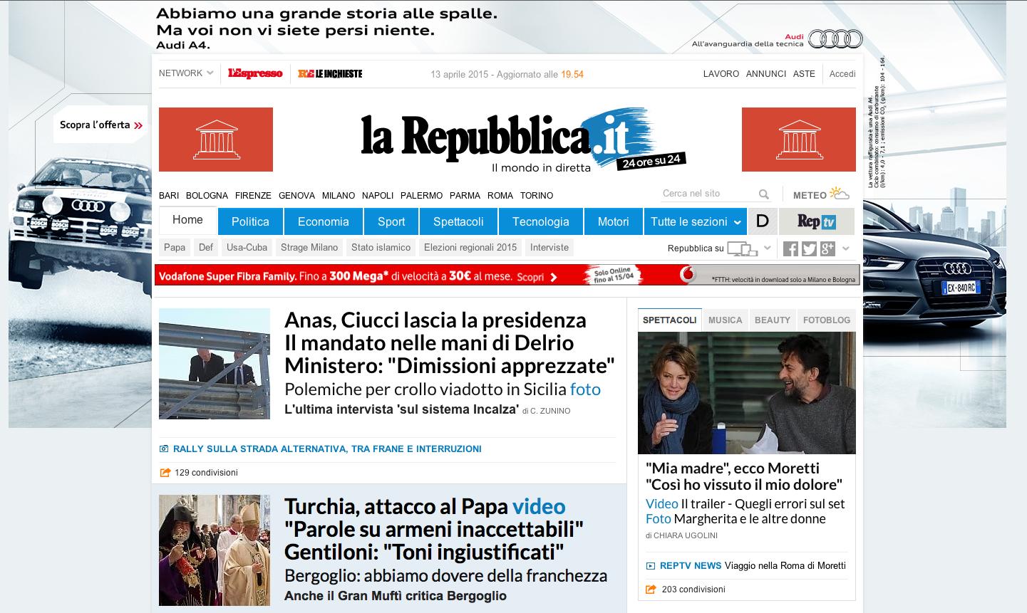 Nuova home page e nuovo sito in arrivo for Sito repubblica