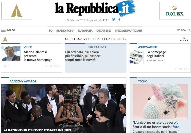 Debutta la nuova home page di for Home page repubblica