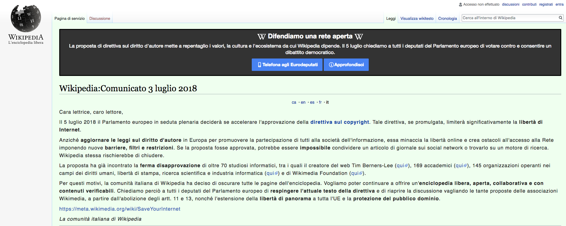 Direttiva dell 39 ue sul copyright le polemiche si for Il parlamento italiano wikipedia