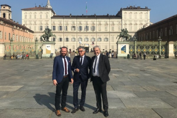 Christian Zegna, admin di Btrees, Giovanni Radis, presidente di Réseau Entreprendre Piemonte, e Massimo Mereta, direttore di Fondazione Michelin Sviluppo