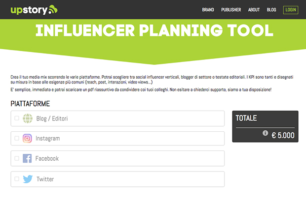 UpStory-Influencer-Planning-Tool