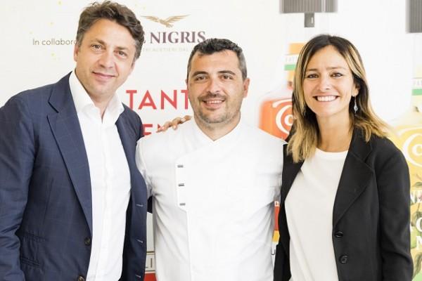 Luca de Nigris, lo chef Paolo Marinucci e Barbara Cavicchia