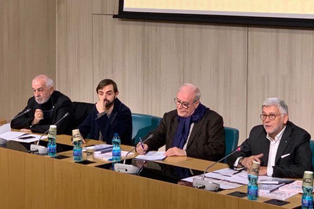 Da sinistra Gianni Canova, Giuseppe Carrieri, Aldo Bonomi e Francesco Pugliese