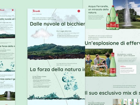 Un'immagine del nuovo sito Ferrarelle realizzato da Arc