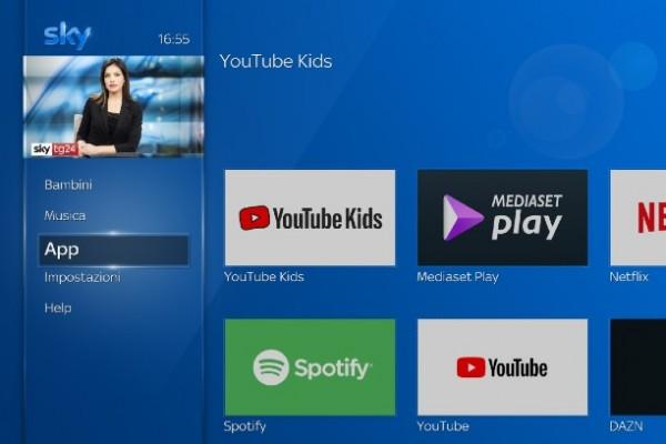 L'app YouTube Kids su SkyQ